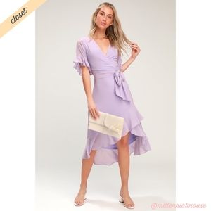 [Lulu's] For the Frills Lavender Wrap Dress